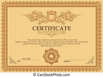 Vector detailed certificate - Vector illustration of gold...