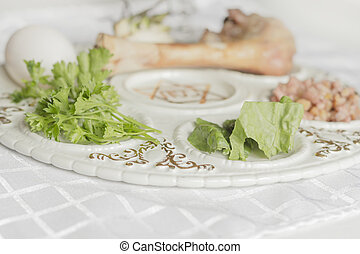 Passover Seder Plate - Jewish seder plate Six foods make up...