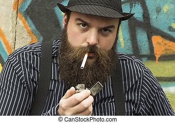 Snazzy Bearded Man - Snazzy bearded man smokes a cigarette...