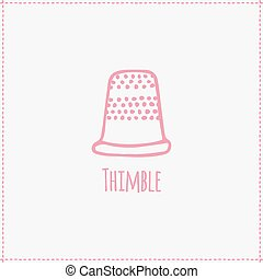 Vector illustration Hand-drawn thimble - Vector illustration...
