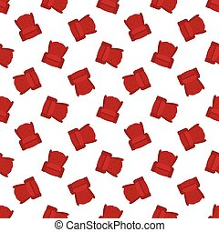 Vector red flat armchair seamless pattern