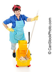 Maid with a Mop - Friendly, happy maid gets ready to mop a...