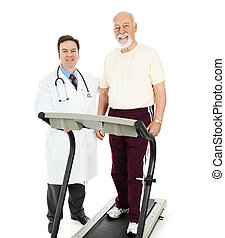 Fit Senior Man with Doctor - Fit senior man on a treadmill...