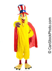 Uncle Chicken Wants You - Man in chicken suit with Uncle Sam...