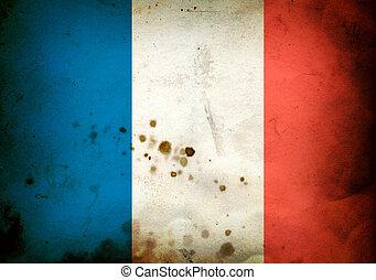 Burned flag of France - Flag of France on a burned old paper