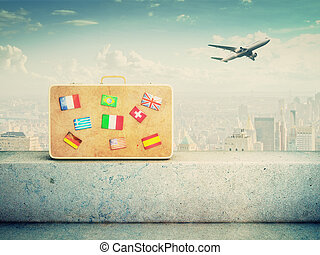 suitcase with flag icons - yellow leather suitcase with flag...