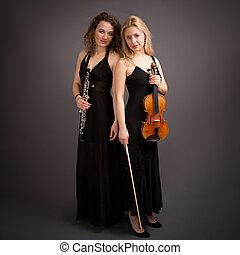 美麗, 年輕, 女性, 古典, 音樂, 二重唱,