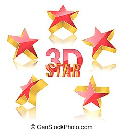 3d red star with gold set