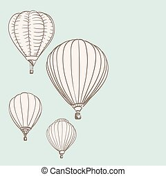 hot air balloons background drawing