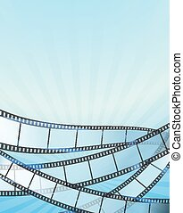 blue vertical background with retro filmstrip