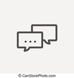 Chat thin line icon - Chat icon thin line for web and...
