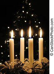 Christmas advent wreath with burning candles Lights on x-mas...