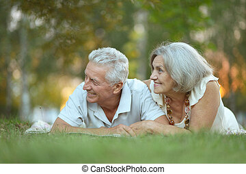 happy old people - Beautiful happy old people in the park