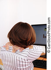 Business woman with neck pain with copy space - Business...