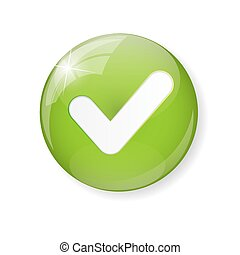 Green Check Mark Icon Button Vector Illustration EPS10