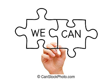We Can Puzzle Concept - Hand drawing We Can puzzle concept...