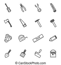 Vector construction and repair tool icon set - Construction,...