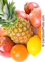 Fruit mix. On white background.