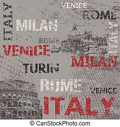 Typographic poster design with Italy