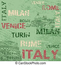 Typographic poster design with Italy and city names Rome,...