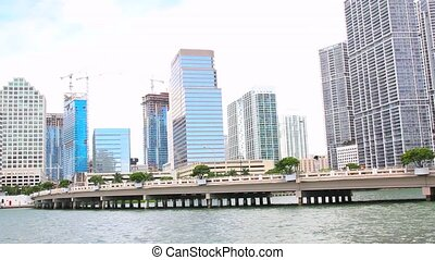 Miami,Florida skyline from Brickell Key. USA
