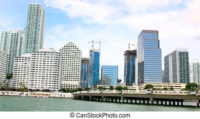 Views of the Miami Skyline along Brickell Avenue