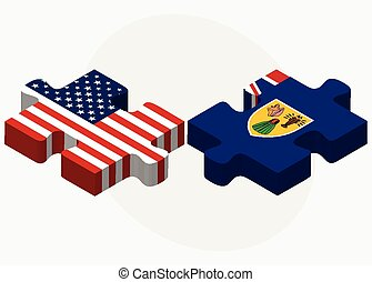 USA and Turks and Caicos Islands Flags in puzzle - Vector...