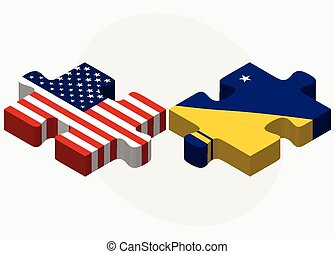 USA and Tokelau Flags in puzzle - Vector Image - USA and...