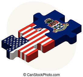 USA and Cayman Islands Flags in puzzle - Vector Image - USA...