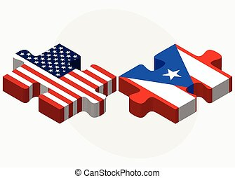 USA and Puerto Rico Flags in puzzle - Vector Image - USA and...