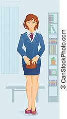cartoon white-collar woman - young white-collar woman with...