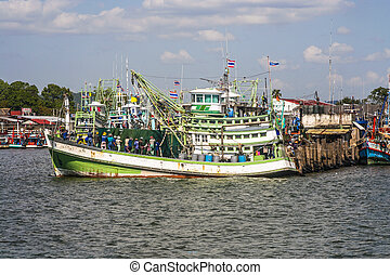 wooden local fisherboat in the harbor of Rayong, Thailand...