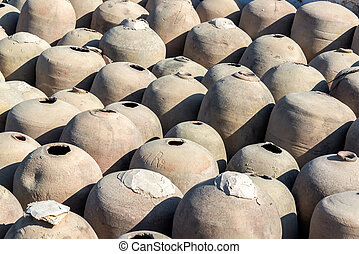 Amphoras for Pisco Production - Clay jars previously used in...