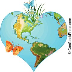 Earth heart - Illustration of earth in the form of heart