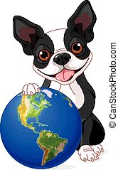 Boston Terrier Earth Day - Boston Terrier holds the Earth at...