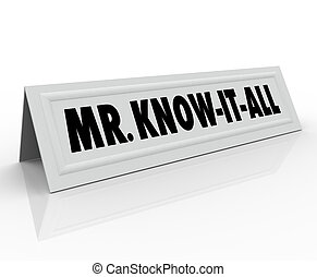 Mr Know-It-All Words Name Tent Card Expert Knowledge Smart...