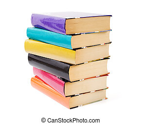 Books - Colorful books are stacked on a white background