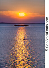 Sailboat on Green Bay - A sailboat plies the waters of Green...