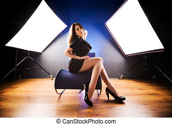 Fashion model at studio Wide angle view