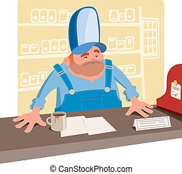 Sullen cashier behind the desk - Sullen cashier in a large...