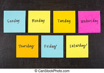 Days of Week Stick Notes - Days of the week sticky notes