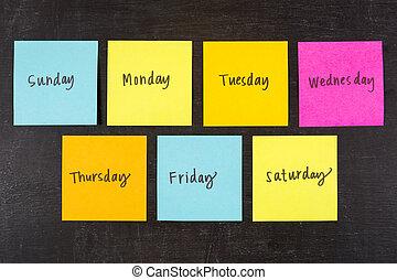 jours, de, semaine, crosse, notes,