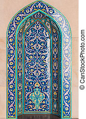 Islamic mosaic tiles in mosque, Muscat, Oman
