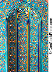 Turquoise Islamic mosaic tiles in mosque, Muscat, Oman