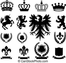 Heraldry Ornaments - Set of various heraldry ornaments,...