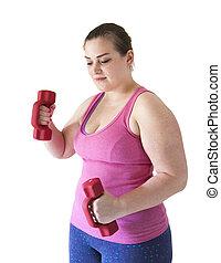 más, tamaño, mujer, entrenamiento,