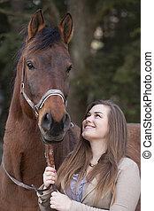caballo, mujer, joven, juego