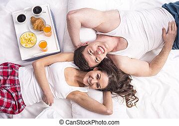 petit déjeuner, dans, lit,