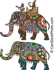 Indian elephant - Indian decorated elephant with rider...