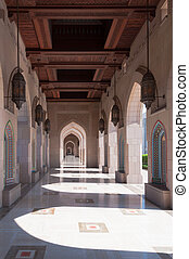 Alley way to ablution area in Sultan Qaboos Mosque, Muscat,...